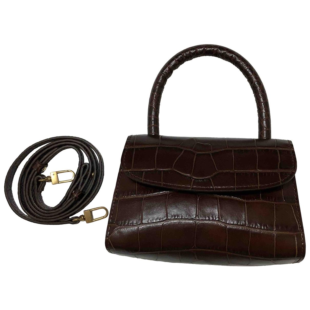 By Far Mini Handtasche in  Braun Leder