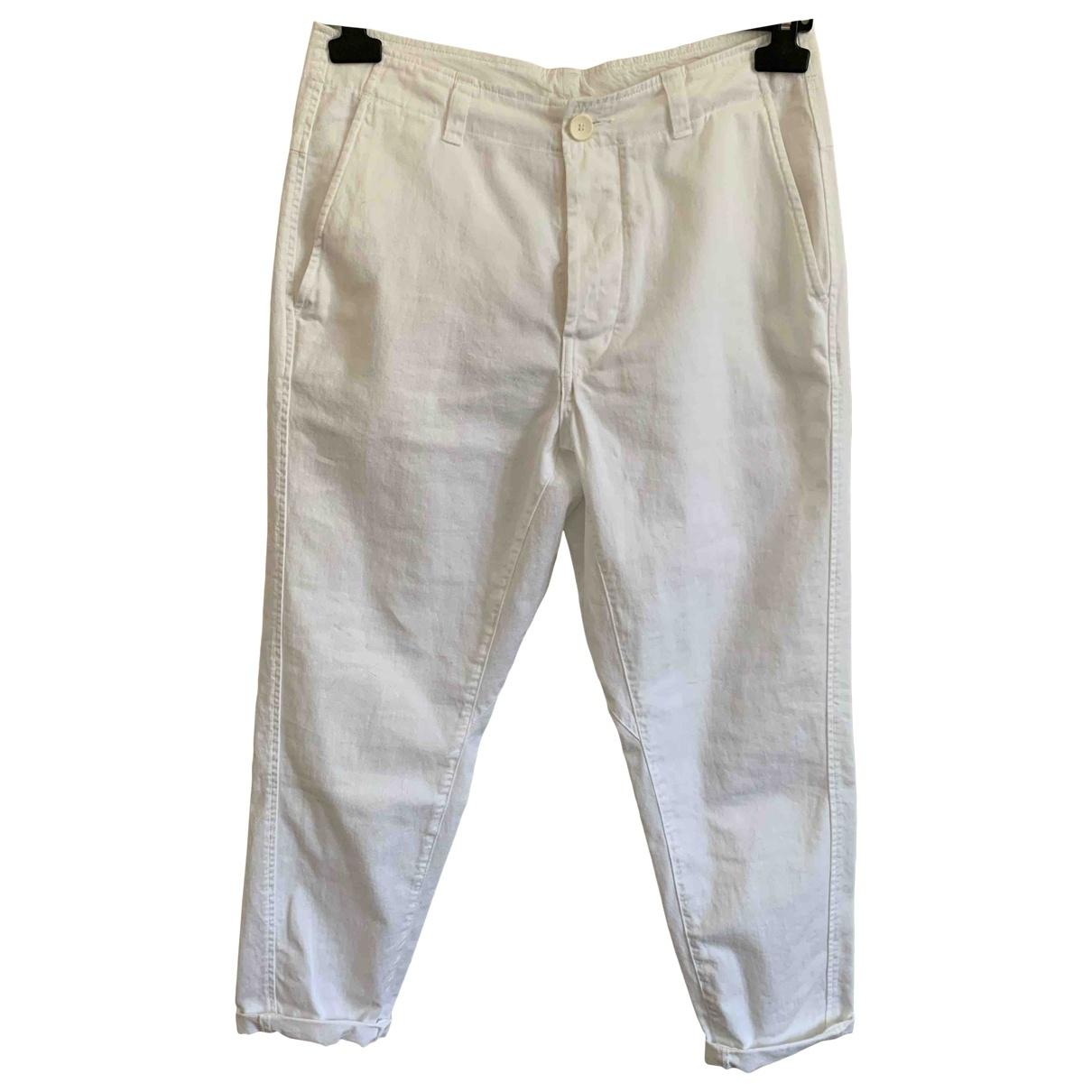 Momoni \N White Cotton Trousers for Women 42 IT
