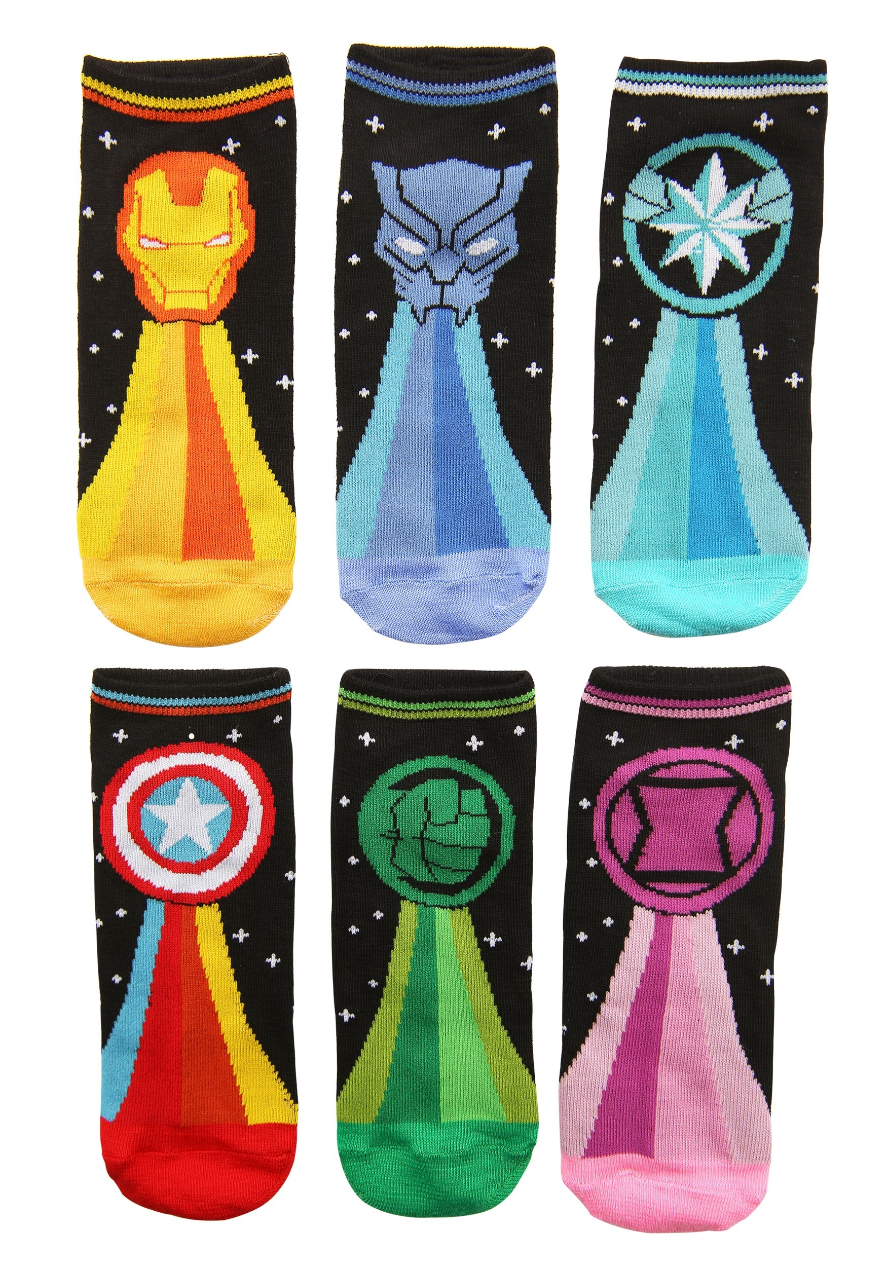 Black Marvel 6 Pair Pack Women's  Low Cut Socks