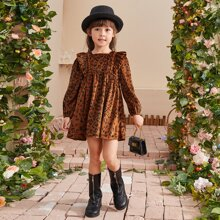 Vestidos para niña pequeña Volante Leopardo Casual