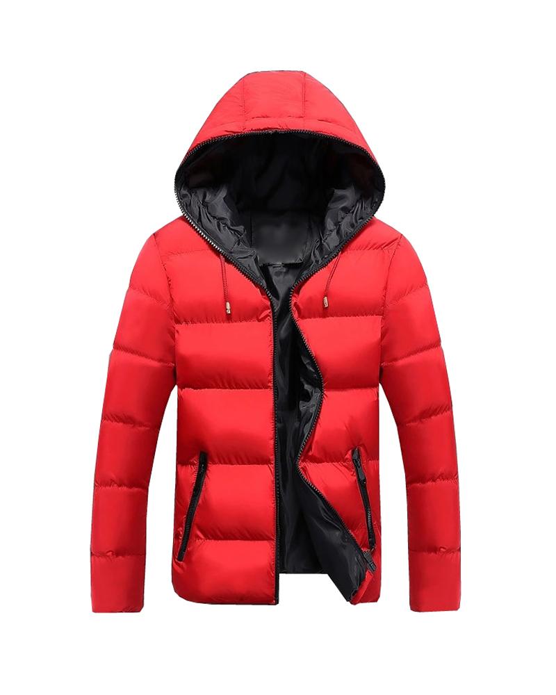 Thick Color Block Zipper Straight Model Pocket Down Coat