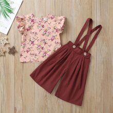 Toddler Girls Floral Print Ruffle Sleeve Blouse With Wide Leg Pants