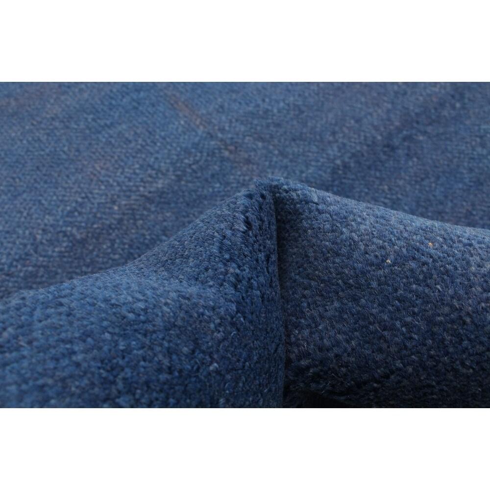 ECARPETGALLERY  Hand-knotted Pak Finest Gabbeh Blue Wool Rug - 2'7 x 8'4 (Dark Blue - 2'7 x 8'4)