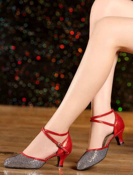Milanoo Multicolor Dance Sandals Straps Glitter Heels for Women