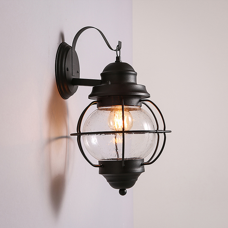 Black Creative Basis with 1 Round Bulb Classic Hardware Decorative Wall Light