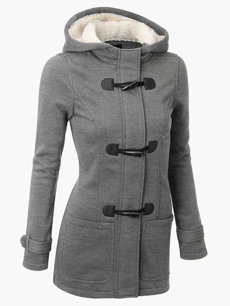 Milanoo Duffle Coat Women Long Sleeve Hoodie Gray Winter Jackets