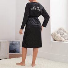 Letter Embroidery Velvet Belted Robe