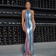 DKRX rueckenfreies Meerjungfrau Prom Kleid mit Pailletten