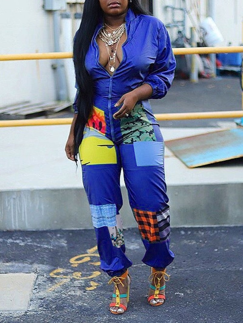 Ericdress Full Length Casual Color Block Slim Mid Waist Jumpsuit