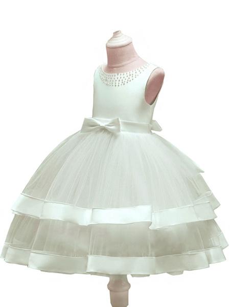 Milanoo Vestidos de niña de flores Cuello joya Tul Sin mangas Longitud de te Princesa Silueta Arcos Vestidos de fiesta social para niños