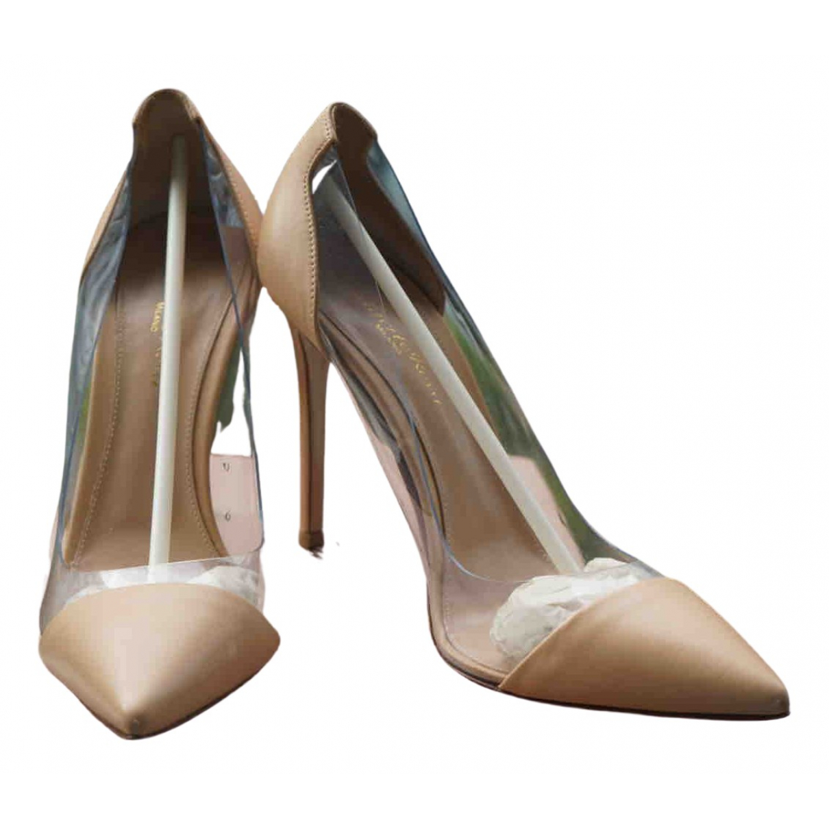 Gianvito Rossi Plexi Beige Leather Heels for Women 39 EU