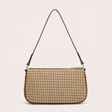 Plaid Zip Up Baguette Bag