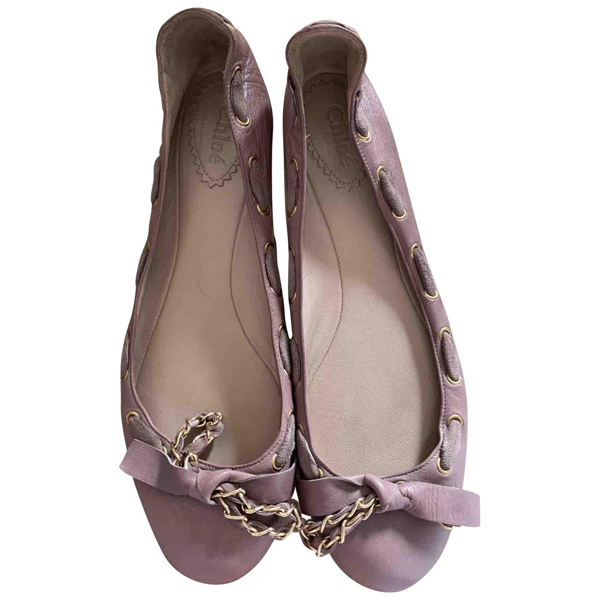 Chloe \N Ballerinas in  Lila Leder