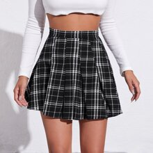 Zipper Side Plaid Pleated Skirt