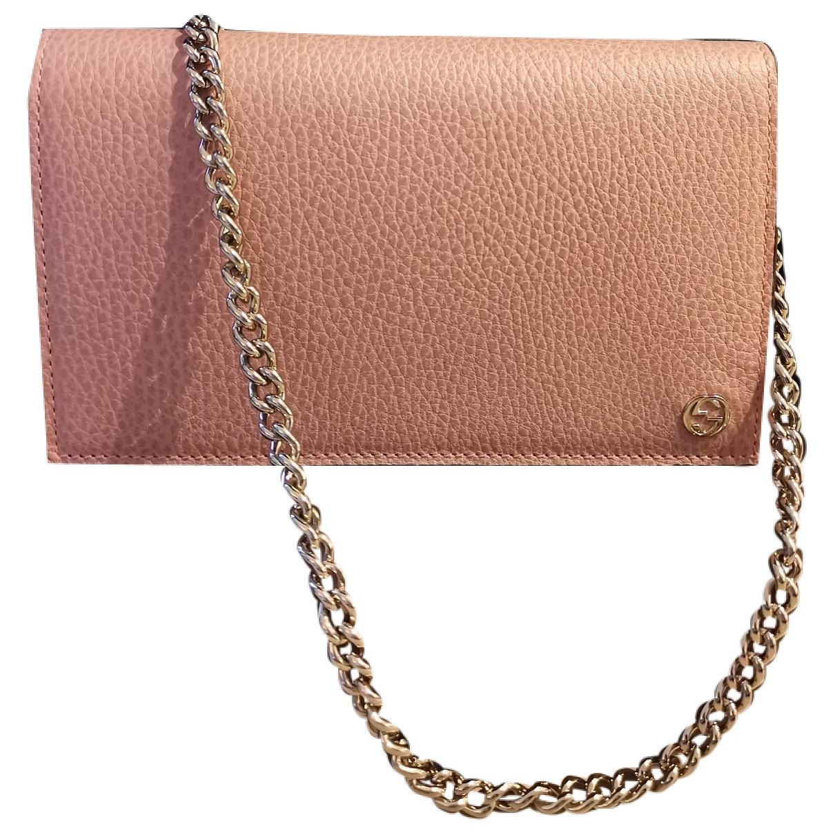 Gucci - Pochette Betty pour femme en cuir - rose