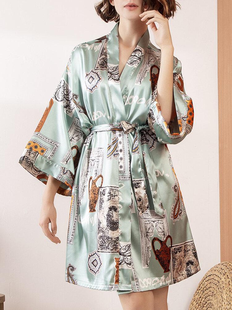 Women Vintage Printing Faux Silk Smooth Belt Long Sleeves Robes Pajamas