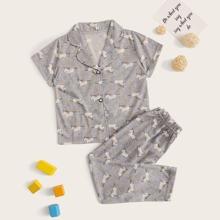 Conjunto de pijama de niñitos con estampado de unicornio