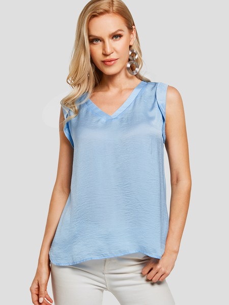 YOINS Blue V-neck Sleeveless Casual Style Camis