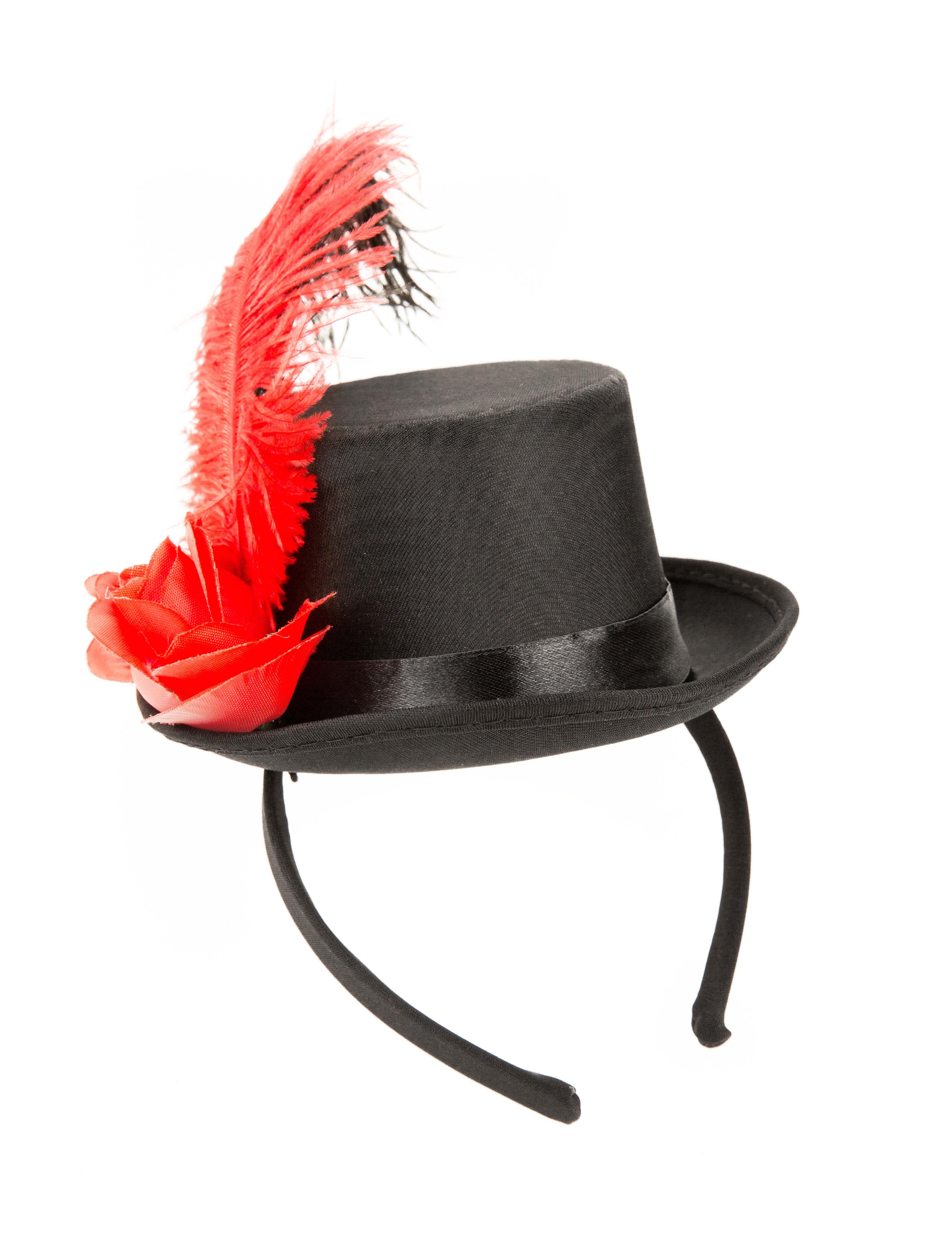 Kostuemzubehor Haarreif Mini Zylinder mit Blume & Feder schwarz/rot