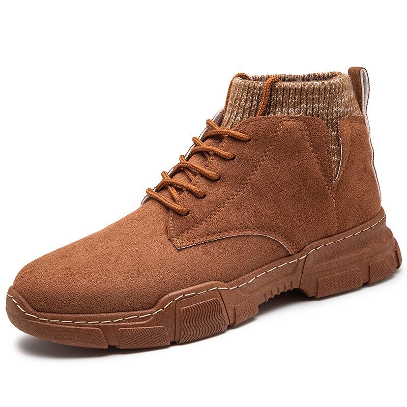 Men Synthetic Suede Non Slip Work Style Casual Sock Ankle Boots