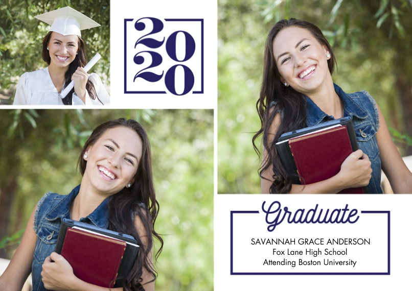 2020 Graduation Announcements Flat Matte Photo Paper Cards with Envelopes, 5x7, Card & Stationery -2020 Graduate Memories by Tumbalina