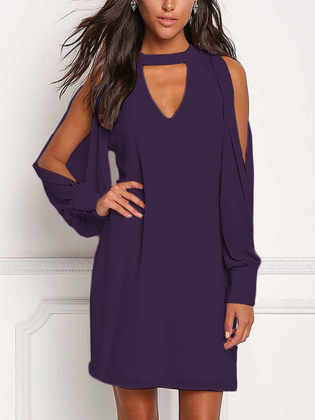 Yoins Purple V-neck Cold Shoulder Long Sleeves Chiffon Dress
