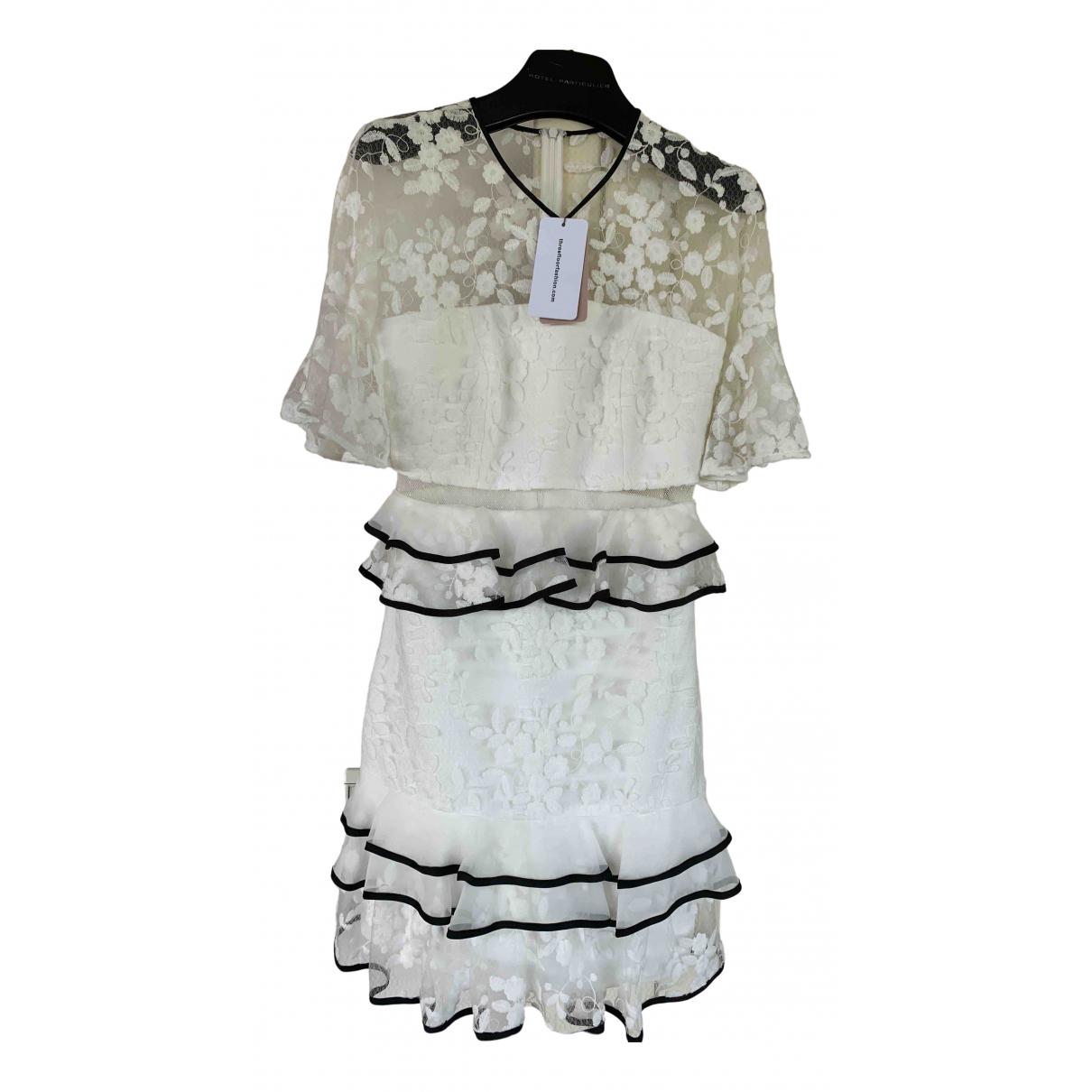 Three Floor Fashion \N Kleid in  Weiss Baumwolle - Elasthan