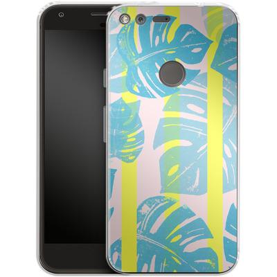 Google Pixel XL Silikon Handyhuelle - Linocut Monstera Neon von Bianca Green