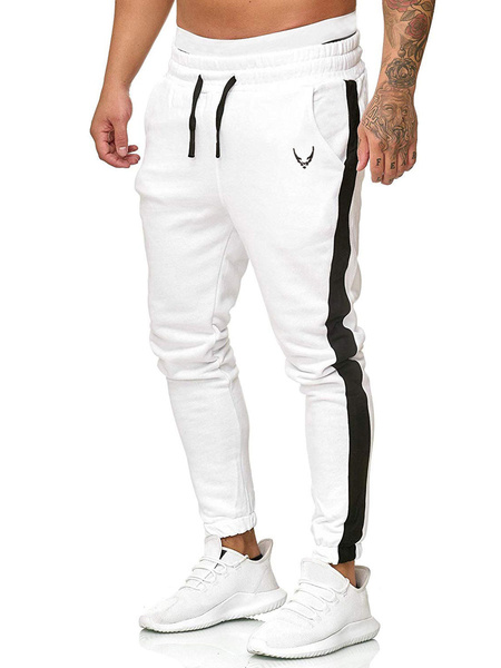 Milanoo Pants For Men Polyester Color Block Tapered Fit Hunter Green Pants Men\\'s Pants