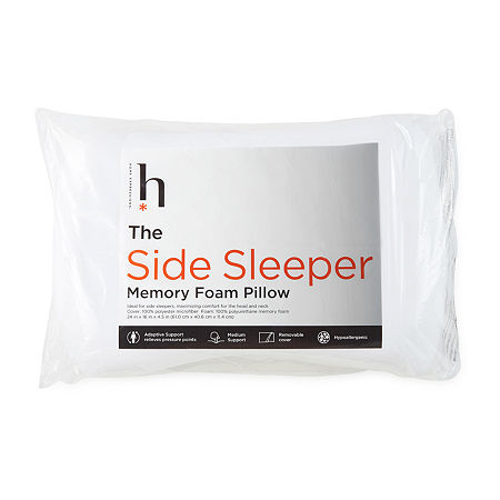 Home Expressions Side Sleeper Medium Density Memory Foam Pillow, One Size , White