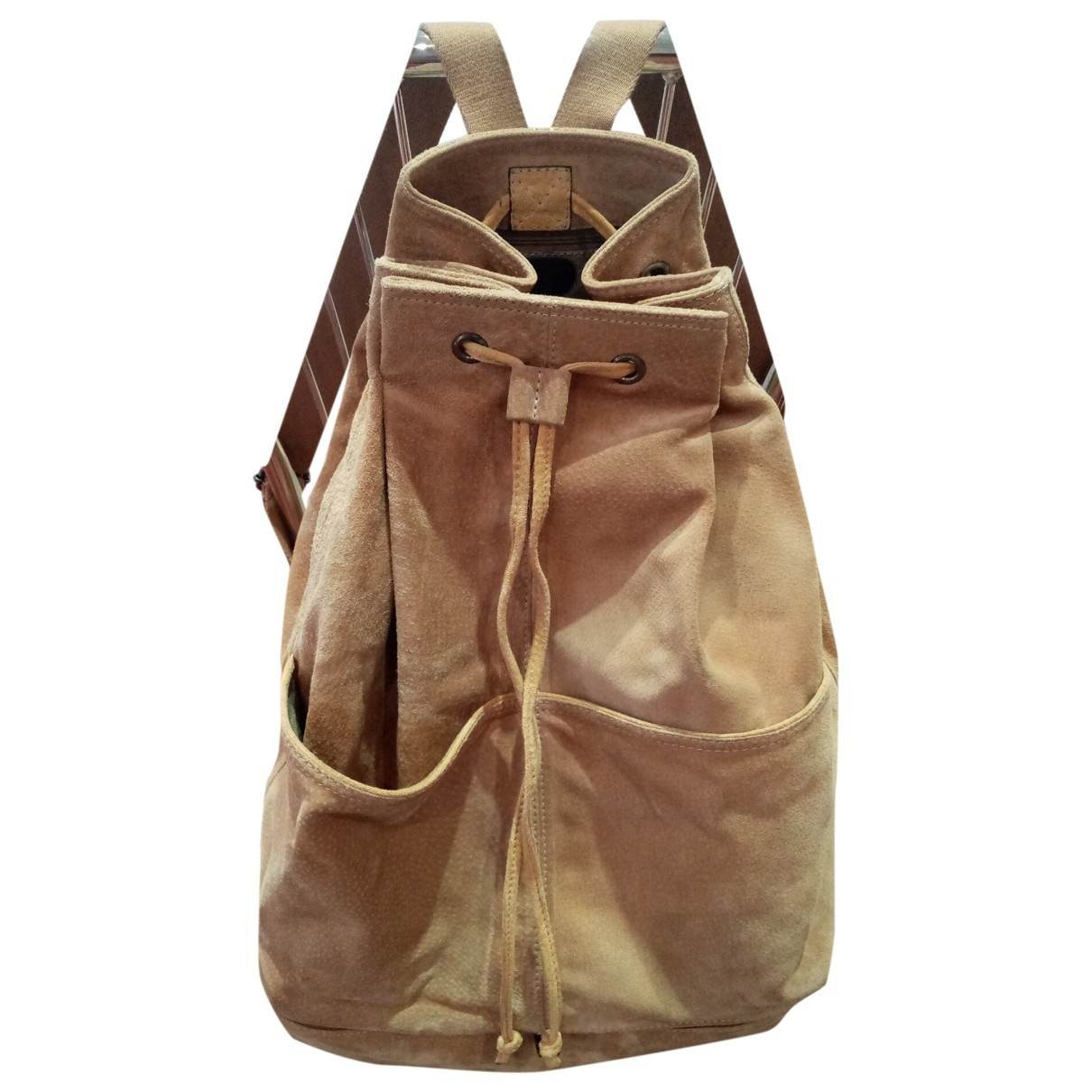 Non Signé / Unsigned \N Beige Leather backpack for Women \N