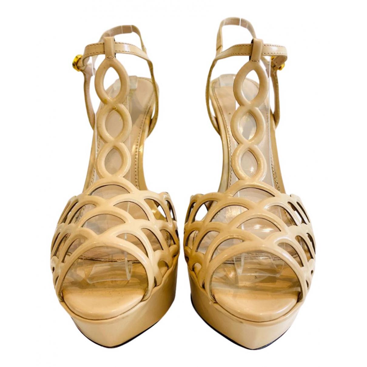 Sergio Rossi N Beige Patent leather Heels for Women 37.5 EU