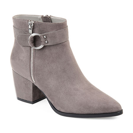 Journee Collection Womens Lavra Booties Block Heel Zip, 7 1/2 Medium, Gray