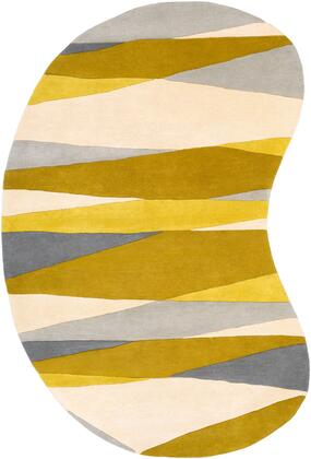 Forum FM-7203 6 x 9 kidney Modern Rug in Cream  Lime  Mustard  Medium Gray