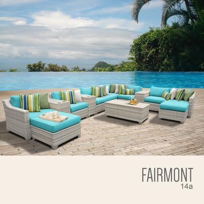 FAIRMONT-14a-ARUBA Fairmont 14 Piece Outdoor Wicker Patio Furniture Set 14a with 2 Covers: Beige and