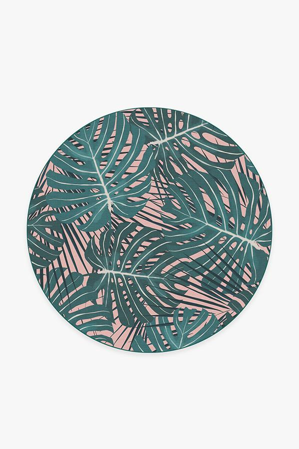 Washable Rug Cover & Pad | Monstera Miami Rug | Stain-Resistant | Ruggable | 6' Round