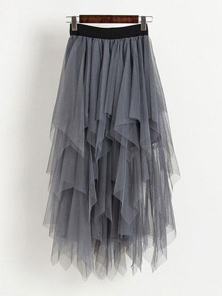 Milanoo Tulle Skirt Women Irregular Hem High Waisted Summer Skirt