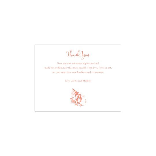 20 Pack of Martha Stewart Personalized New England Beach Wedding Thank You Cards in Dahlia | 4.25