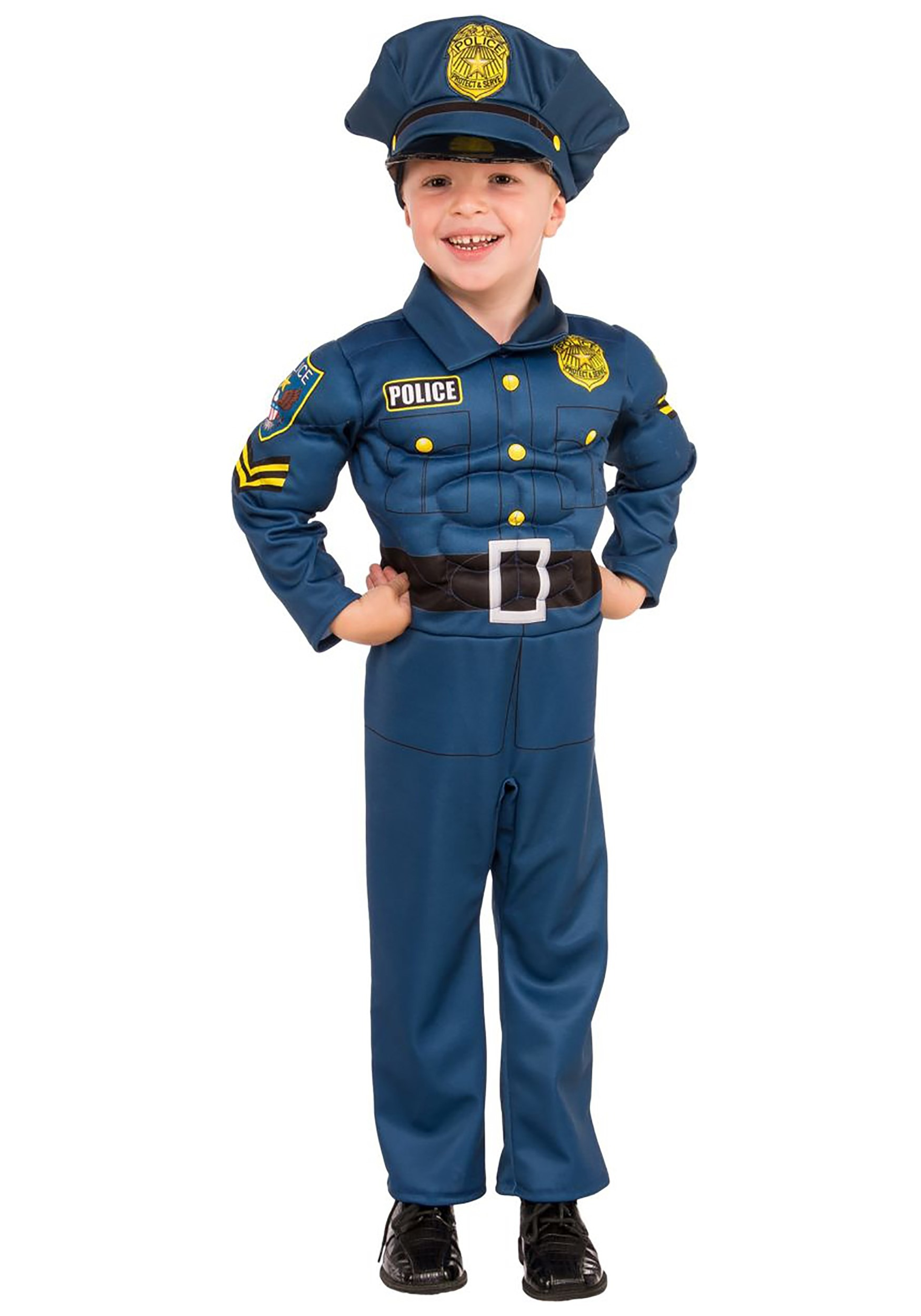 Boys Top Cop Muscle Costume