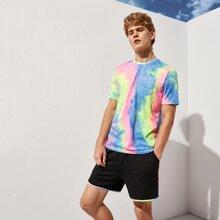 Men Patch Pocket Tie Dye Top & Shorts Set