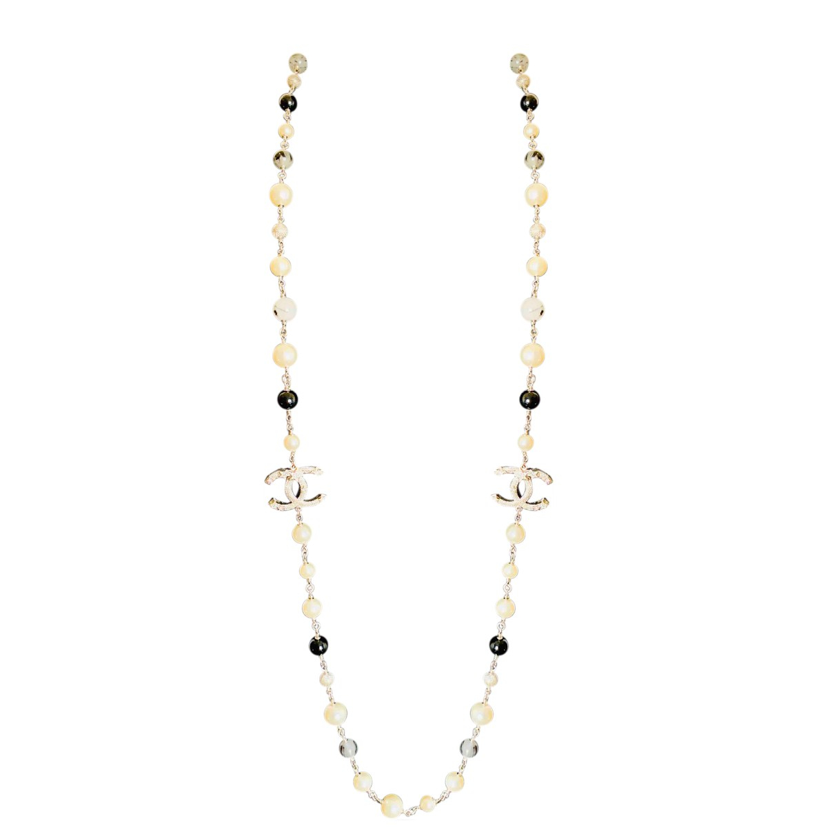 Chanel CC Silver Pearls Long necklace for Women N