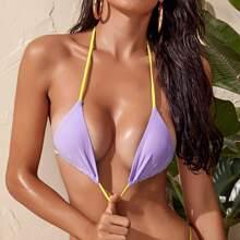 Contrast Binding Triangle Halter Micro Bikini Top