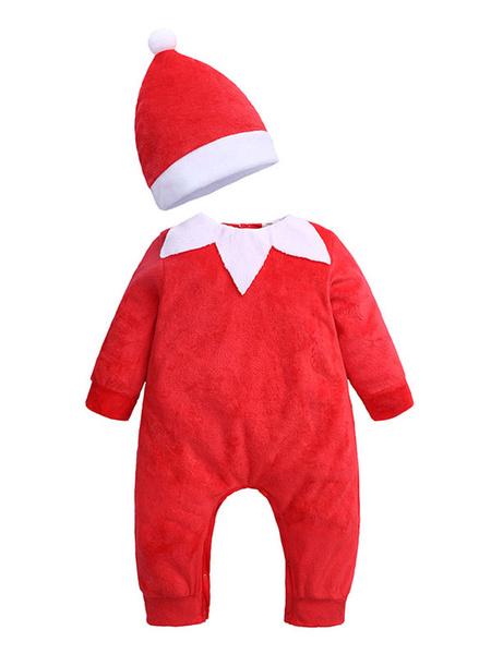 Milanoo Disfraz Halloween Conjunto de Navidad para niños Mono rojo Disfraces de Navidad de algodon Carnaval Halloween