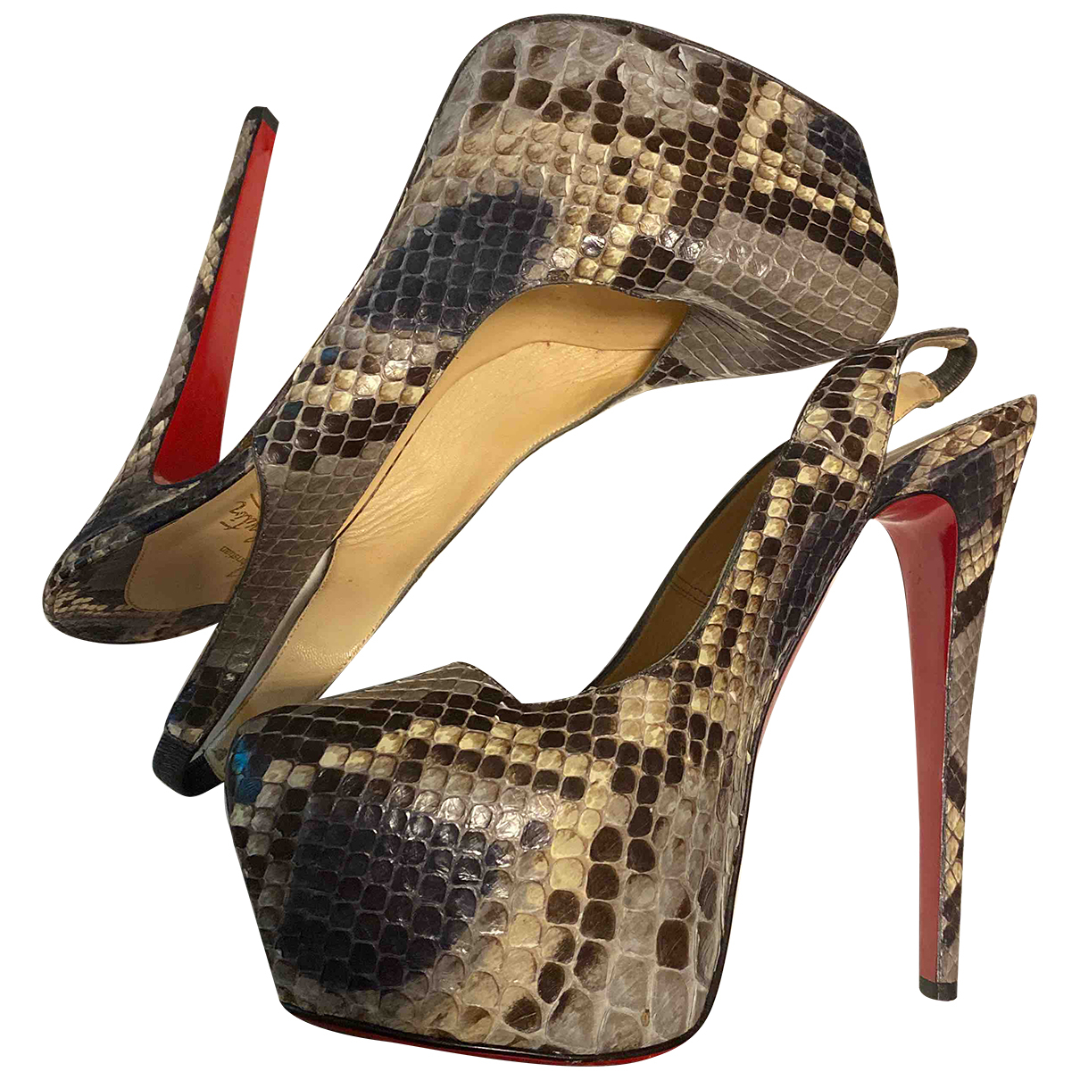 Christian Louboutin Daffodile  Grey Water snake Heels for Women 40 EU