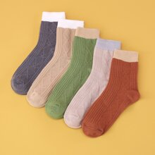 5 Paare Socken mit Kontrast Saum