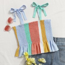 Colorblock Shirred Ruffle Hem Knotted Cami Top