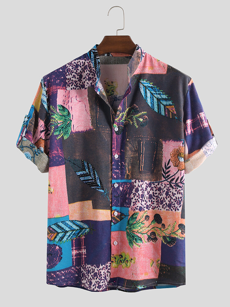 Mens Ethnic Style Printing Floral Summer Half Sleeve 100% Cotton Loose Casual Shirt