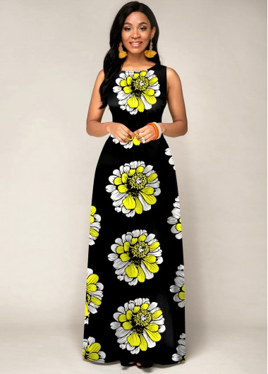Black Dresses Sleeveless Tribal Print Round Neck Maxi Dress - XL