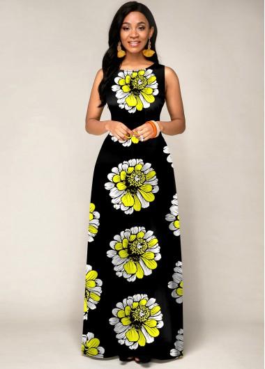 Black Dresses Sleeveless Tribal Print Round Neck Maxi Dress - L