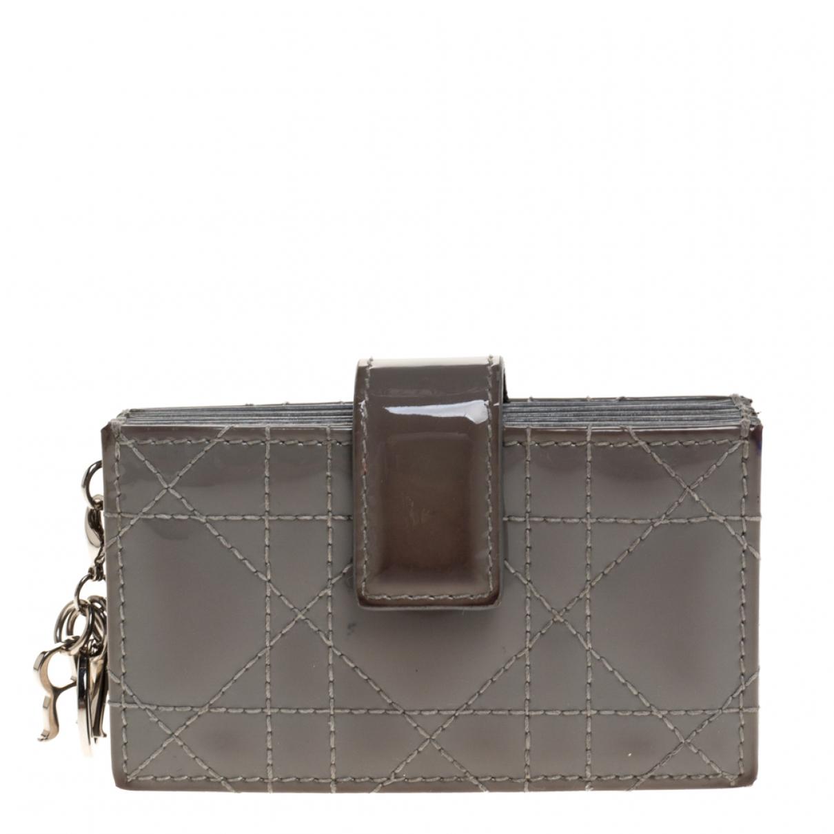 Dior - Petite maroquinerie   pour femme en cuir verni - gris